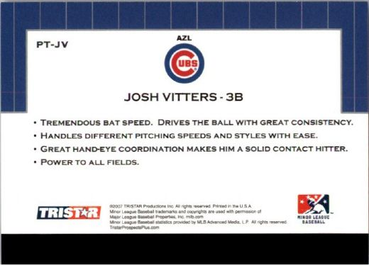 2007 JOSH VITTERS TriStar Prospects Plus Rookie PROTENTIAL RC