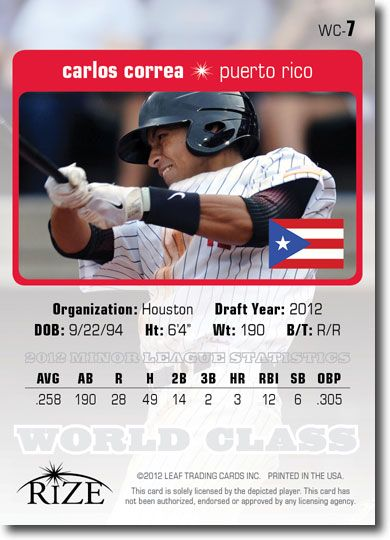 25-Count Lot CARLOS CORREA 2012 Rize Rookie WORLD CLASS RCs