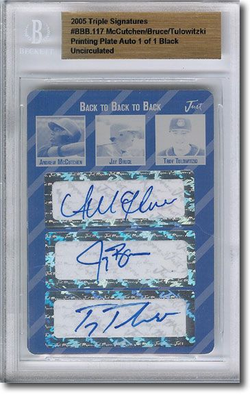 ANDREW McCUTCHEN * JAY BRUCE * TROY TULOWITZKI * Autograph Rookie Auto Plate 1/1