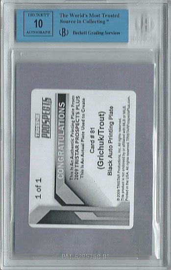 MIKE TROUT 2009 TriStar Autograph Rookie Press Plate 1/1 BGS 10 bowman chrome comp